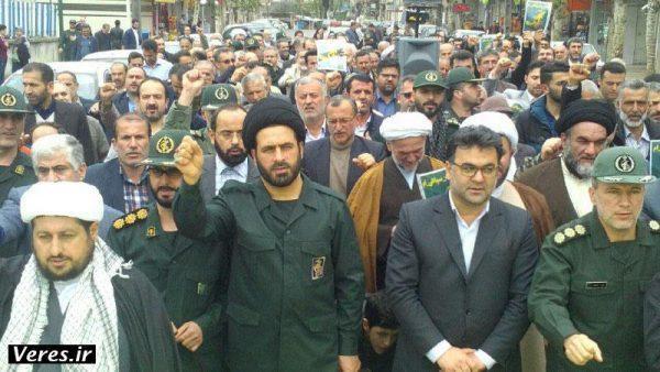 راهپیمایی نمازگزاران شهرستان شفت در حمایت از سپاه پاسداران انقلاب اسلامی